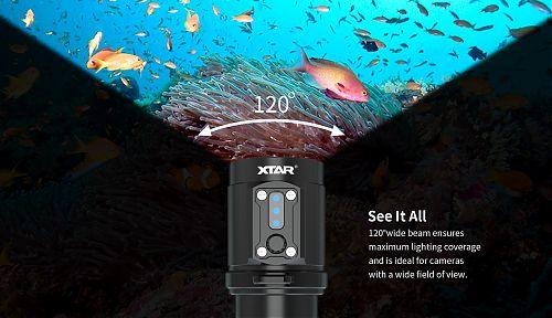 Подводный фонарь XTAR D08 Walrus  2000 лм.  4 часа на 2000 лм. Широкий луч. Дополнительный красный
