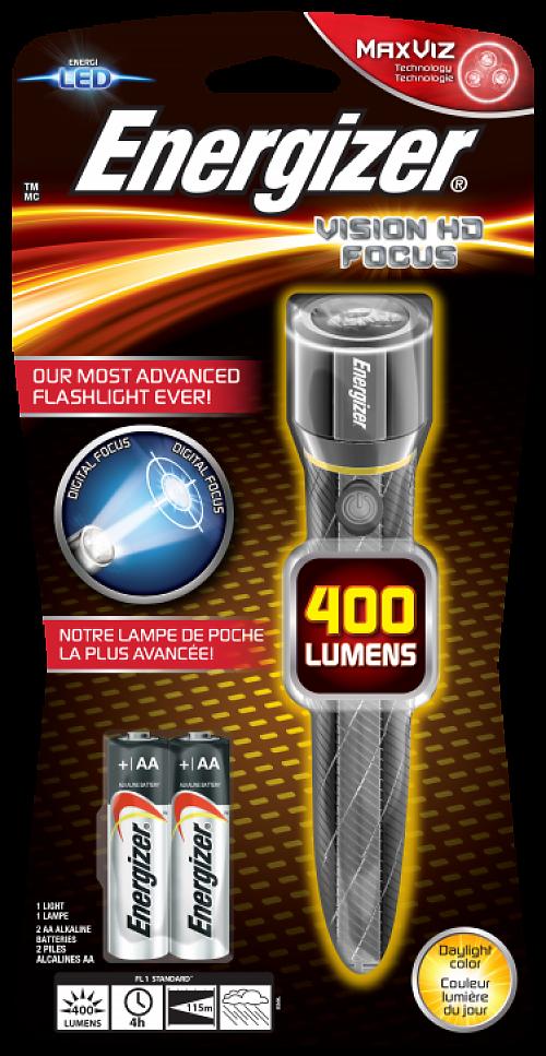 Фонарь Energizer Metal Vision HD 2AA  Универсальный надежный фонарь на батарейках АА. 400 лм.