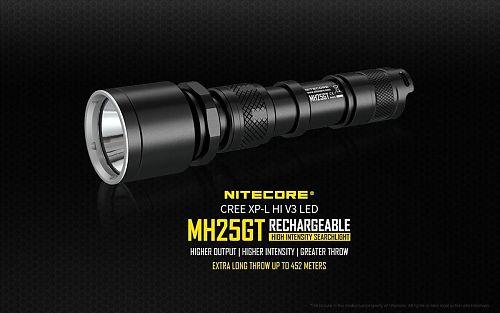 Фонарь Nitecore MH25GT  Дальность 452 м. Встроенное зарядное устройство (micro-USB)