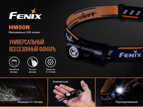 Налобный фонарь Fenix HM50R  Г-образная форма.500 лм. микро-USB.