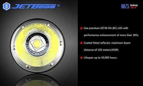 JETBeam HR25  Мощный налобный фонарь с встроенным зарядным устройством 1180 лм.