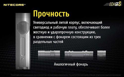 Фонарь Nitecore EC4GTS   Литой корпус = Легкий вес и прочность. 1800 лм. Резьба для штатива.