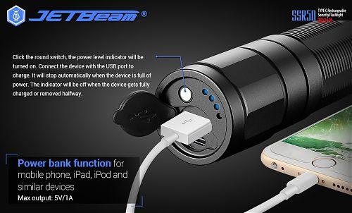 Мощный аккумуляторный фонарь с powerbank - JETBeam SSR50 CREE XHP70.2 P2 1C  2 часа работы в режиме 3650 лм,  USB Type-C, Power Bank