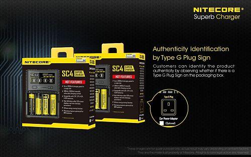 Зарядное устройство Nitecore SC4  Универсальная. Выбор тока от 0,5 до 3А. Li-ion, Ni-MH, Ni-Cd