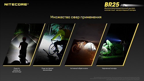 Яркая компактная велофара NITECORE BR25   Компактный .Быстросъемное крепление. Всепогодная