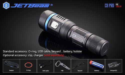 JETBeam C8 PRO  Мощный фонарь 1100 лм, оснащен встроенным Micro USB-портом.