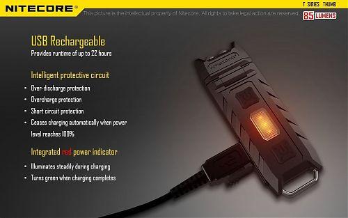 Легкий брелок с поворотной головой с usb зарядкой Nitecore THUMB с красным светом  Вращаемая голова фонаря с наклоном в 120°, многофункциональная клипса