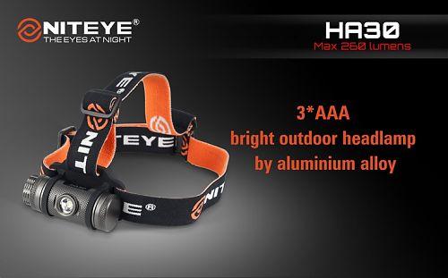 Налобный фонарь Niteye HA30 на мизинчиковых батарейках, корпус алюминиевый сплав, водонепроницаемый, переключение магнитным кольцом  Переключение кольцом. Индикатор заряда. Водонепроницаемый, противоударный. Алюминиевый корпус.