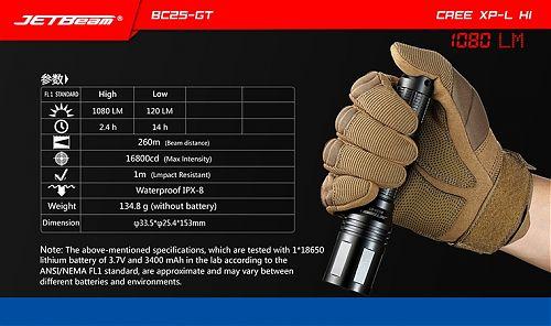 JETBeam BC25-GT   Яркий, дальнобойный фонарь 1080 лм, подзарядка от USB