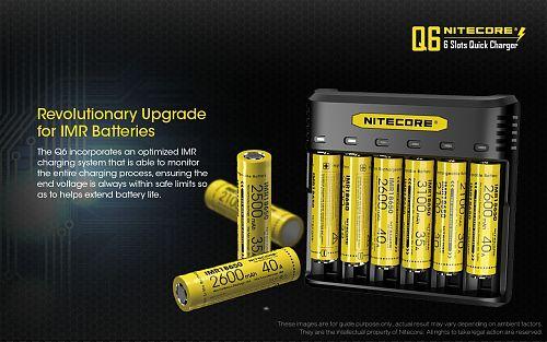 Универсальное зарядное устройство NiteCore Q6  Для заряда Li-Ion и IMR. 6 слотов
