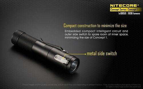 Фонарь Nitecore CONCEPT 1+IMR18650/3100mAh  Ручной. Сверхмощный. 11 сантиметров,мощность 1800 лм!