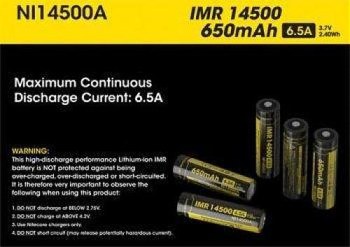 IMR аккумулятор размера 14500 3.7V, 650mA.