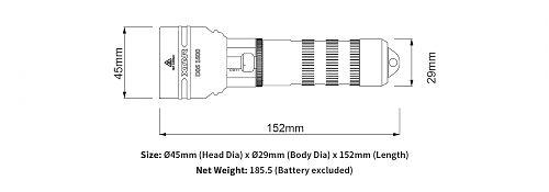 Подводный фонарь с плавной регулировкой яркости XTAR D06 1600 лм.  Управление ползунком. 1,5 часа на 1600 лм.