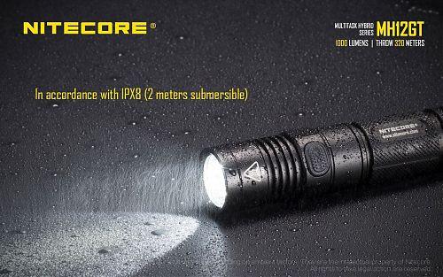 Nitecore MH12GT  Компактный мощный фонарь 1000 лм, USB порт для зарядки.