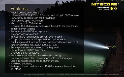 Комплект мощного фонаря Nitecore TM28 KIT с аккумуляторами дилер  6000 лм. на аккумуляторах IMR (в комплекте)