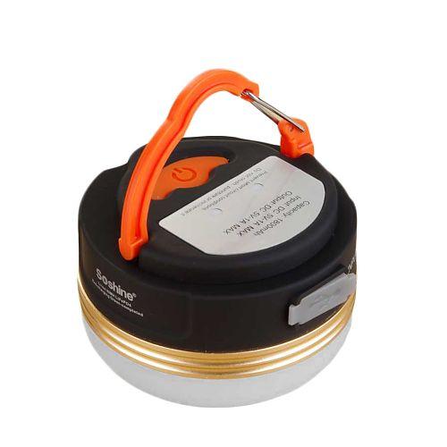 Кемпинговый фонарь с зарядкой телефона Soshine CB2 купить в ФОНАРИКИ.РУ. Фонарь в палатку аккумуляторный не дорого купить в Москве с доставкой по России.   зарядка micro-USB, аккумулятор 1800mAh. Теплый свет.  Есть функция Power Bank.