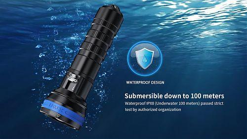 Подводный фонарь с плавной регулировкой яркости XTAR D06 1200 лм.  Угол света 85°.  1,8 часа на 1200 лм.