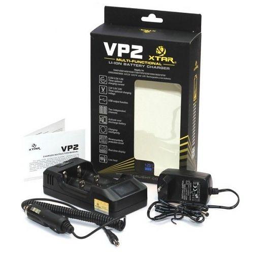 Зарядное устройство XTAR VP2 + адаптер 220 В. 1 Ампер и 12 В.  Для Li-ion и Li-FePO4 .Регулируемый в ручную уровень тока.POWERBANK.Дисплей