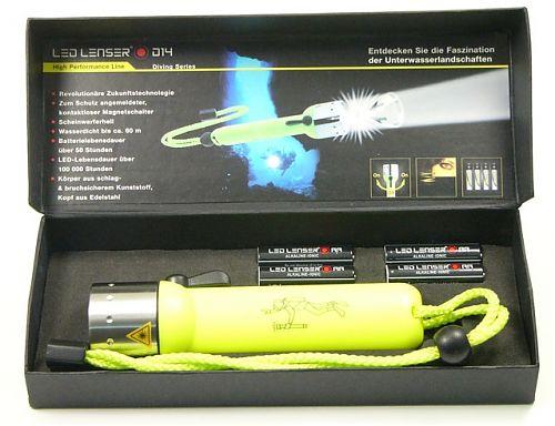 Подводный фонарь Led Lenser D14  Дальность освещения под водой- 180 метров!
