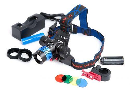 Налобный фонарь Ultra Fire PRO-GH06 Zoom  Велосипедное и наголовное крепление. Цветные фильтры, переходник для батареек AAA