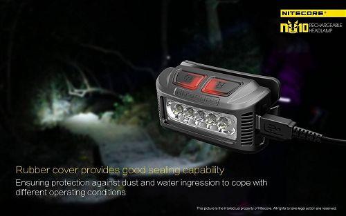 Налобный фонарь Nitecore NU10  65 гр., широкий угол 170 градусов. Micro USB