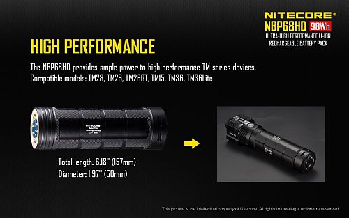 Расширенный аккум. блок NiteCore NBP68HD 68W   Дополнительный блок для фонарей серии TM