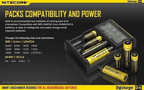 4 слота.Заряжает 13 видов и размеров аккумуляторов. Дисплей