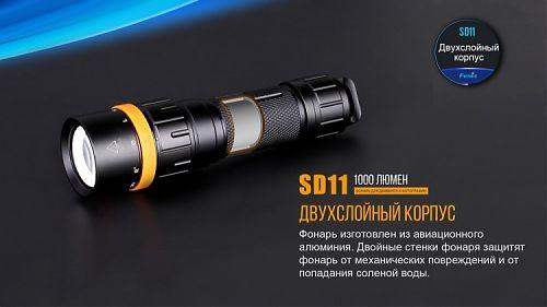 Фонарь Fenix SD11 Cree XM-L2 U2  Фонарь для подводной съёмки. Угол луча 110°. Крепление для камеры