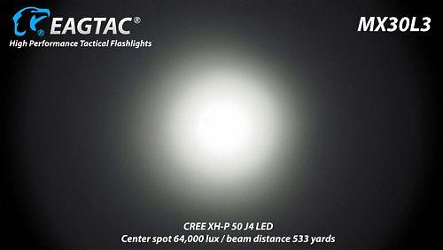 Поисковой фонарь EagleTac MX30L3  Поисковый фонарь. Управление двумя кнопками. Холодный свет