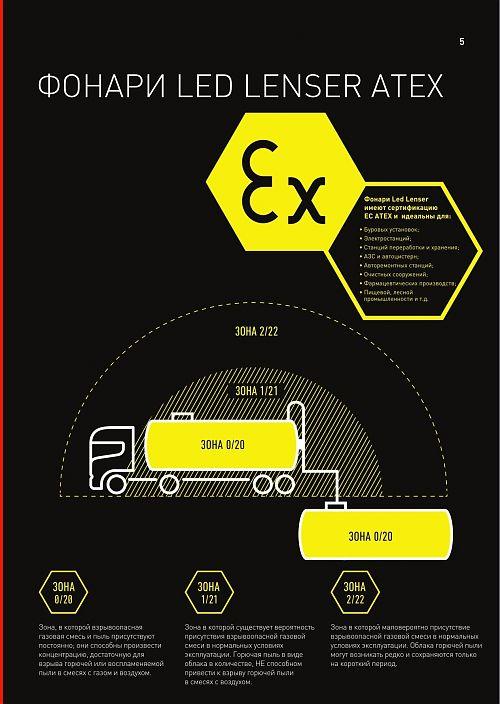 Взрывобезопасный фонарь Led Lenser EX4  Сертификат ATEX для зоны 0/20. Фокусировка