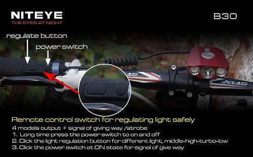 Велофара NITEYE B30  Мощная велофара с тремя отдельными светодиодами