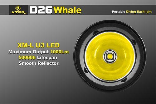 Подводный фонарь XTAR D26  1000 лм. Управление магнитной кнопкой. Индикатор заряда