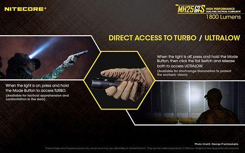 Универсальный фонарь Nitecore MH25GTS с встроенной usb зарядкой с мощностью 1800лм  держит отдачу любого оружия, зарядка от USB. Ударная кромка