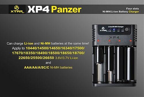 Зарядное устройство XTAR XP4 Panzer для Li-ion/Ni-Mh/Ni-Cd аккумуляторов  Для Li-ion/Ni-Mh/Ni-Cd .Регулируемый вручную уровнь тока заряда