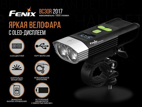 Велофара Fenix BC30R  Встроенный аккумулятор,выносная кнопка, usb зарядка, Oled дисплей. Не слепит
