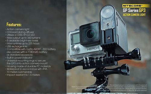 Nitecore GP3 подсветка для экшн-камер  Фонарь для экшн камер GoPro и  Sony. До 10 метров под водой