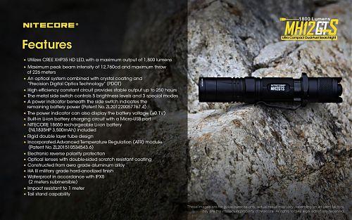 Фонарь Nitecore MH12GTS  1800 лм, зарядка через USB. Торцевая кнопка включения