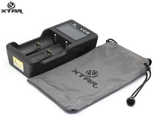 Зарядное устройство XTAR VC2 + адаптер 220 В. 1 Ампер  Для Li-Ion аккумуляторов.Активация чрезмерно разряженных аккумуляторов