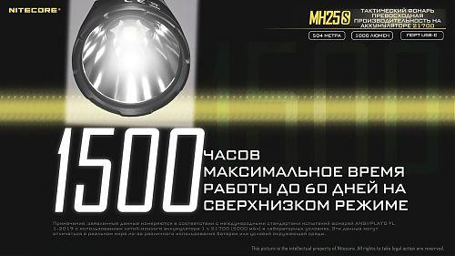 Тактический дальнобойный фонарь NiteCore MH25S  Подствольный. Дальность 504 метра. UCB-C