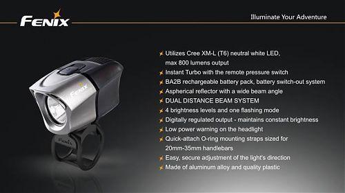 Велофара Fenix BTR20 Cree XM-L NW  Велофара 800лм. Двухзонное освещение.Дистанционный турборежим