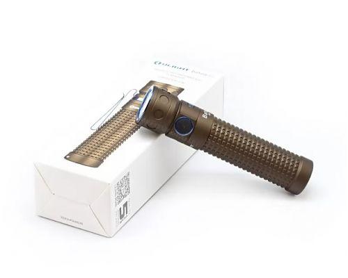 Перезаряжаемый светодиодный фонарь Olight Baton Pro Desert Tan купить на ФОНАРИКИ.РУ с гарантией от производителя  Мощный li-ion аккумулятор 18650 фирмы Olight ORB-186C35. Переносной магнитный USB кабель.