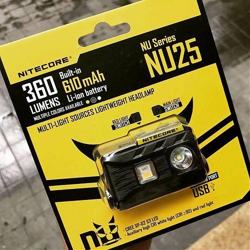 Фонарь налобный аккумуляторный NiteCore NU25  легкий (28гр), дальний и ближний белый + красный свет. USB