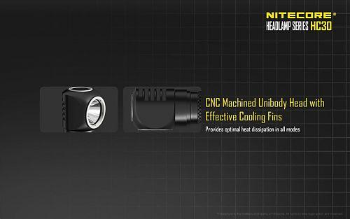 Налобный фонарь NiteCore HC30  Практичный налобник с углом засвета на 100°