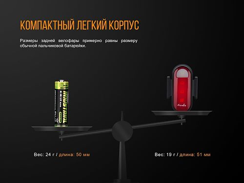 Фонарь габарит для велосипеда Fenix BC05R  Габарит задний красный. Видимость более 200 метров.USB Type-C