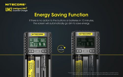 Зарядное устройство NITECORE UM2   Быстрая зарядка. Дисплей. Для IMR/Li-ion/LiFePO4, Ni-MH (Ni-Cd)