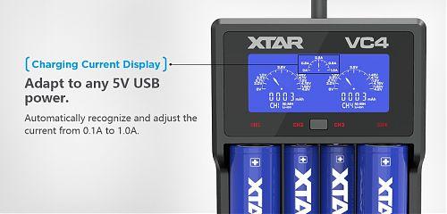 Зарядное устройство XTAR VC4 + адаптер 220 В. 2,1 Ампер  для Li-ion и Ni-Mh. Дисплей.Активация чрезмерно разряженных аккумуляторов
