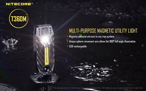 Налобный фонарь магнитный Nitecore T360M   Ультралегкий. Магнитное крепление с поворотом на 360. micro USB