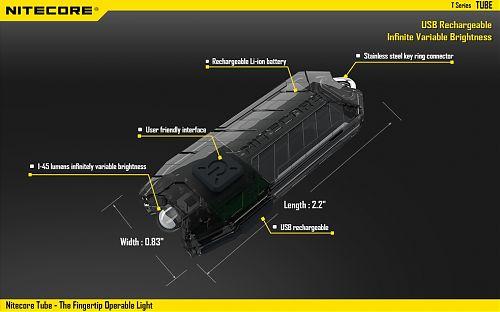 Фонарик брелок NiteCore Tube с встроенной зарядкой micro-USB  Компактный с углом обзора (100°). Плавная регулировка яркости. Встроенный аккум.