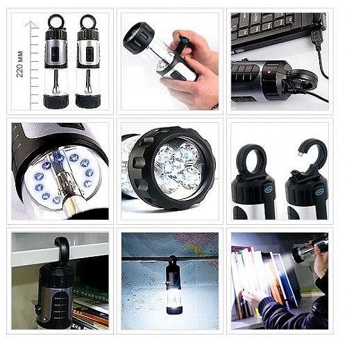 Светодиодный самозарядный фонарь Комби 17  Ручной и кемпинговый режим. Динамо машина и USB