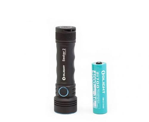 Перезаряжаемый светодиодный фонарь Olight Seeker 2 купить на ФОНАРИКИ.РУ с гарантией от производителя  Мощный li-ion аккумулятор 21700 ORB-217C50 емкостью 5000 мАч. Переносной магнитный USB кабель 1000 мА.